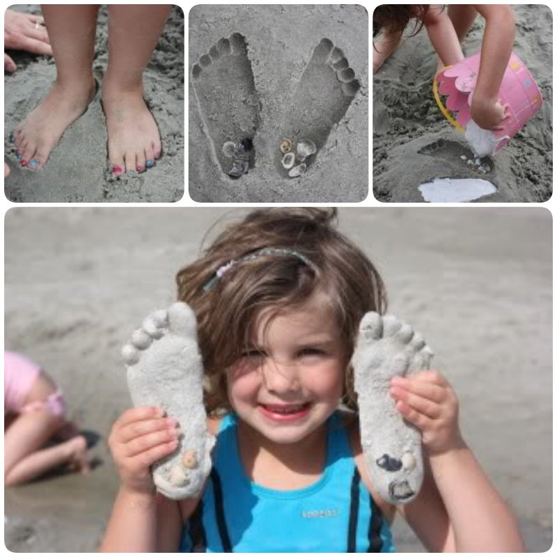 DIY Plaster of Paris Sand Footprints. As family vacations and reunions begin in full force, many people head to the beach, lake or any place to stay cool by the water, and this is the ultimate in DIY beach keepsake arts and crafts. #Craft #Footprint #Keepsake #Sand