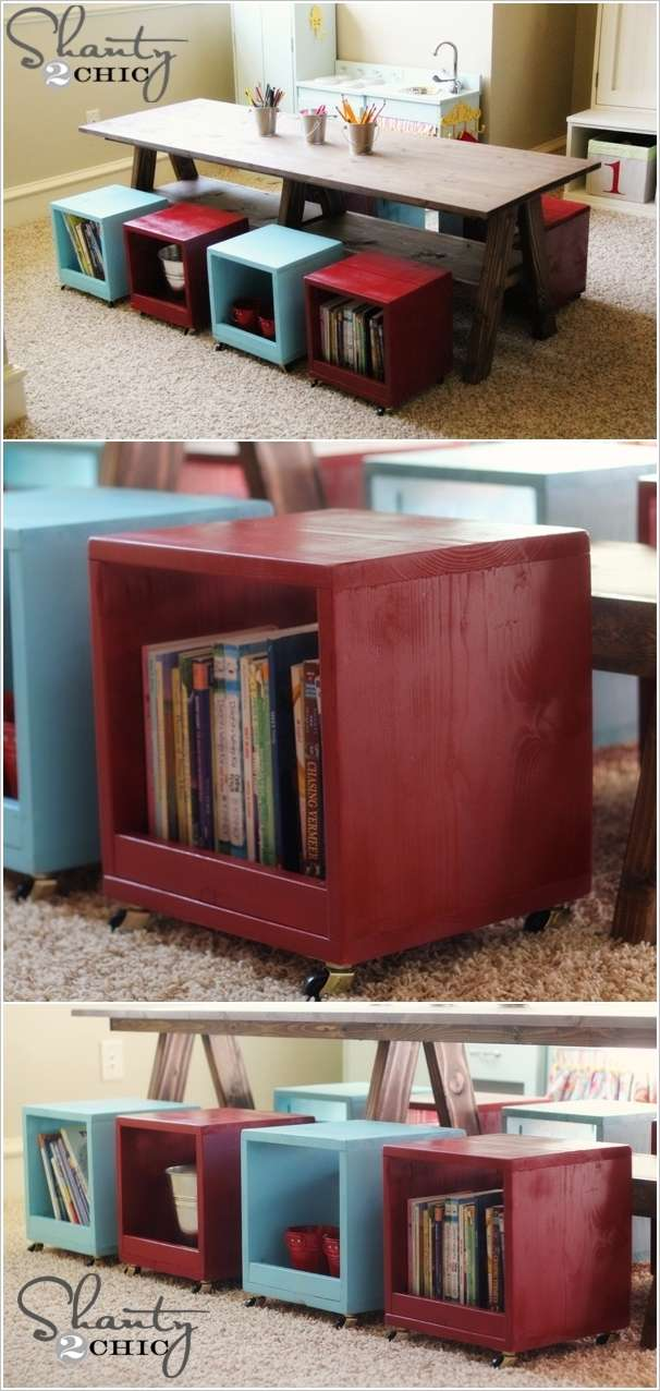 DIY Table with Rolling Storage Cubes