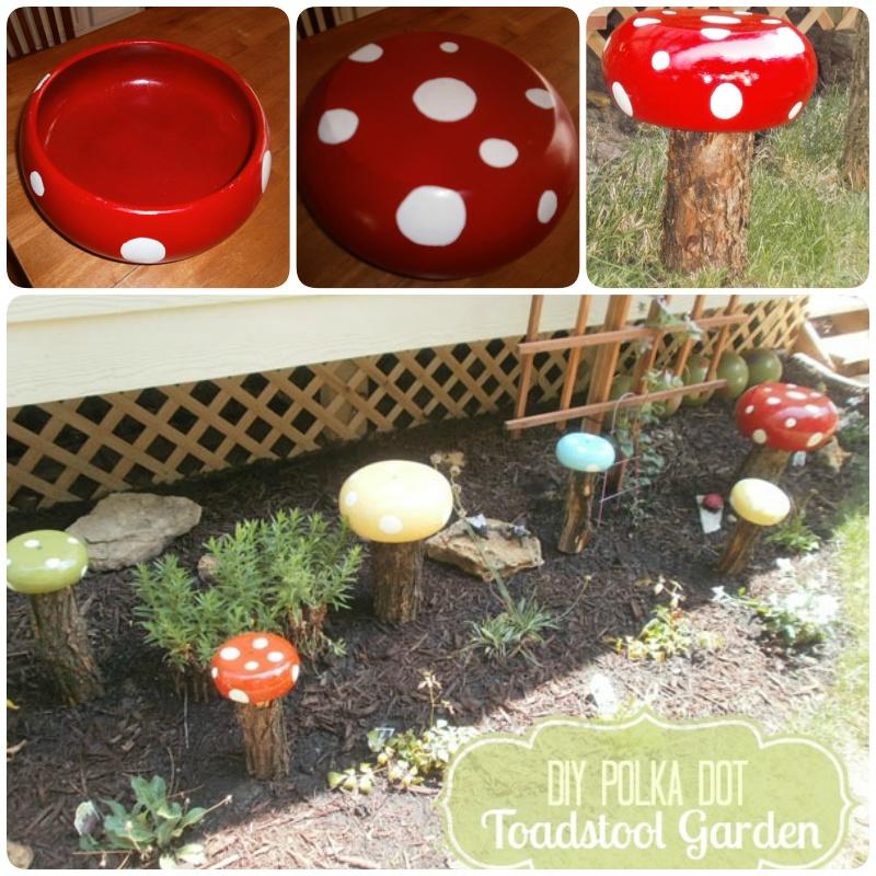DIY polka dot Toadstool garden