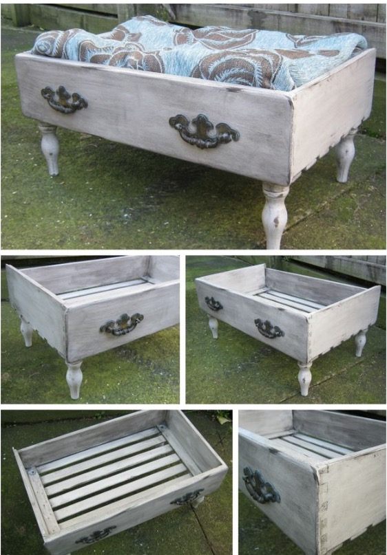 20+ Adorable DIY Pet Bed Ideas-Turn an Old Drawer into a Pet Bed