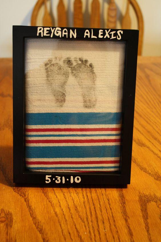 Easy and Inexpensive footprint keepsake using the hospital blanket. #Footprint #Keepsake