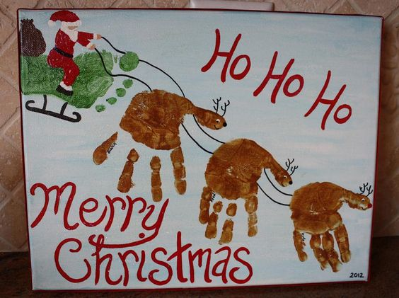 Family Handprint Canvas For Christmas Cool Creativities