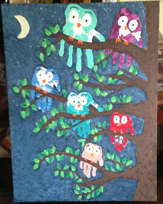 Family Handprint owl Art