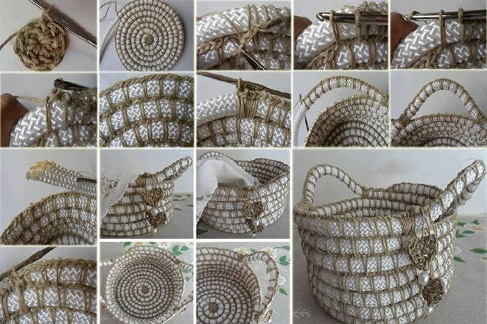 Crochet Rope Basket Free Pattern : How to Make Crochet Rope Basket with Free Pattern
