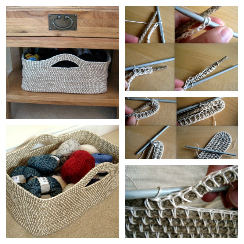 how to make crochet rope basket with free pattern. Black Bedroom Furniture Sets. Home Design Ideas