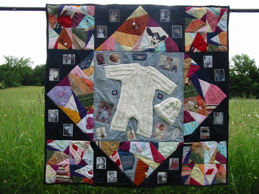 Simple keepsake ideas made with baby old clothes for What to do with an old quilt