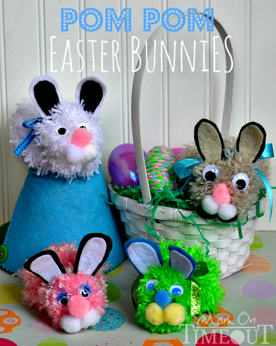 Pom Pom Easter Bunnies are easy to make and are perfect for your child's Easter basket! Just follow along this easy Pom Pom Easter Bunny craft tutorial! #Easter #Bunny #Pom-pom #Craft