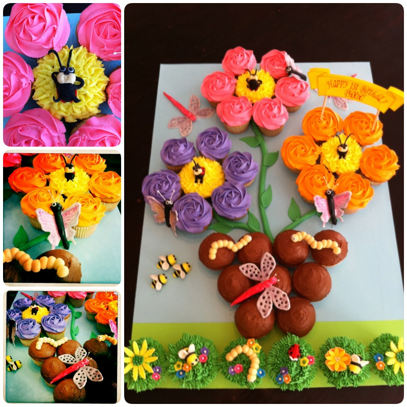 Pull Apart Flower Pot And Garden Bug Cupcake Cake