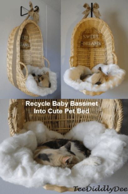 20+ Adorable DIY Pet Bed Ideas-Recycle Baby Bassinet Into Cute Pet Bed