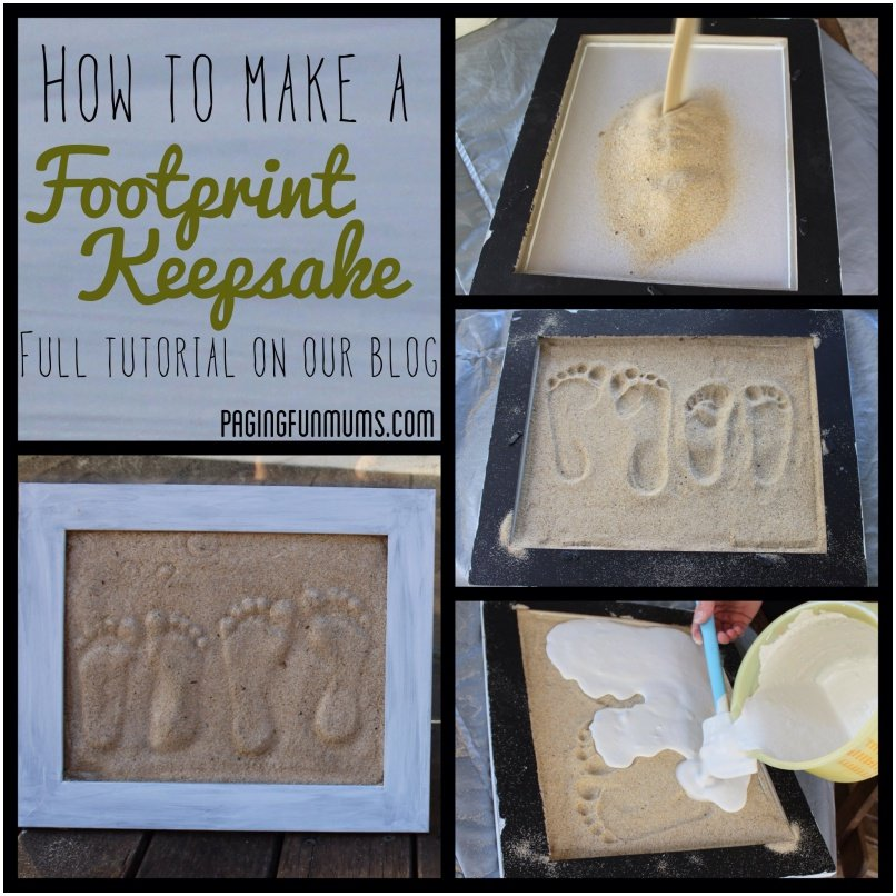 Sand Footprint Craft. Turn footprints into a sand mold to hang on your wall that will forever remind you of those precious years. #Craft #Footprint #Keepsake