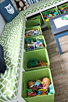 Storage bins are a good idea to store toys and other items that are used regularly.