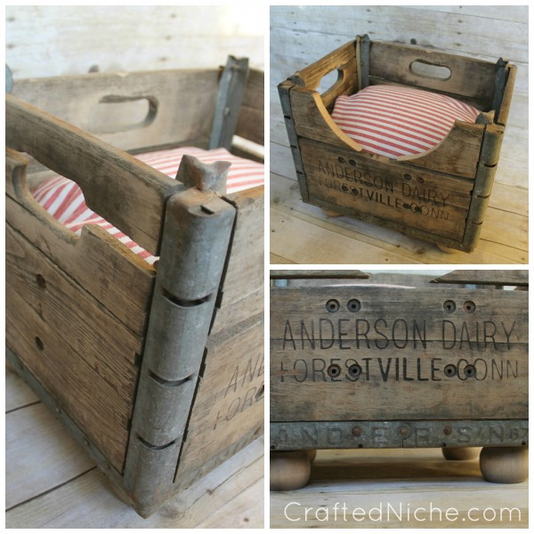 20+ Adorable DIY Pet Bed Ideas-Upcycle Milk Crate Dog Bed