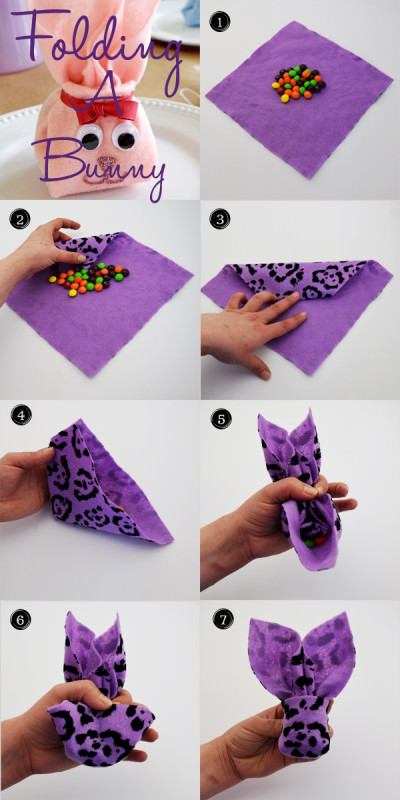 How to fold a napkin or felt bunny