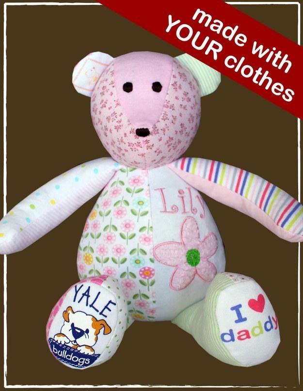 keepsake bear made from baby clothes #Keepsake #Baby