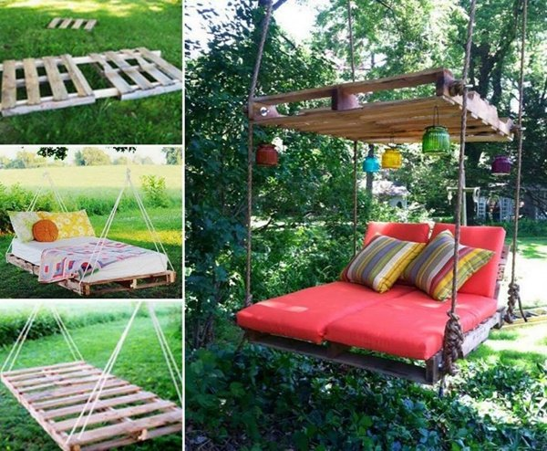 DIY Kids Pallet Furniture Projects- DIY Pallet Swing Bed
