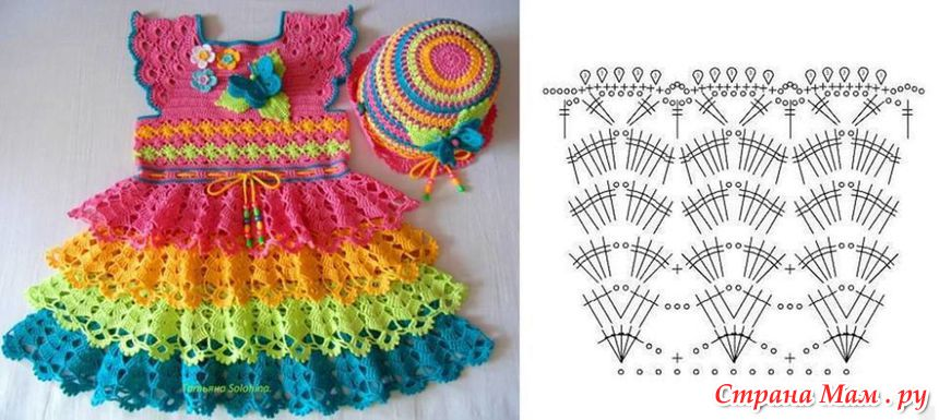 Crochet Baby Girls Rainbow Dress
