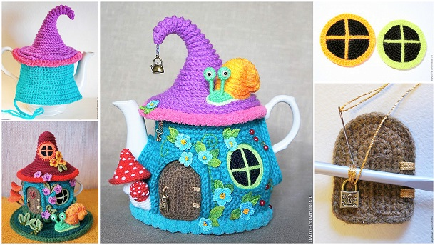 Crochet Tea Kettle Fairy House Cover with Free Pattern 1