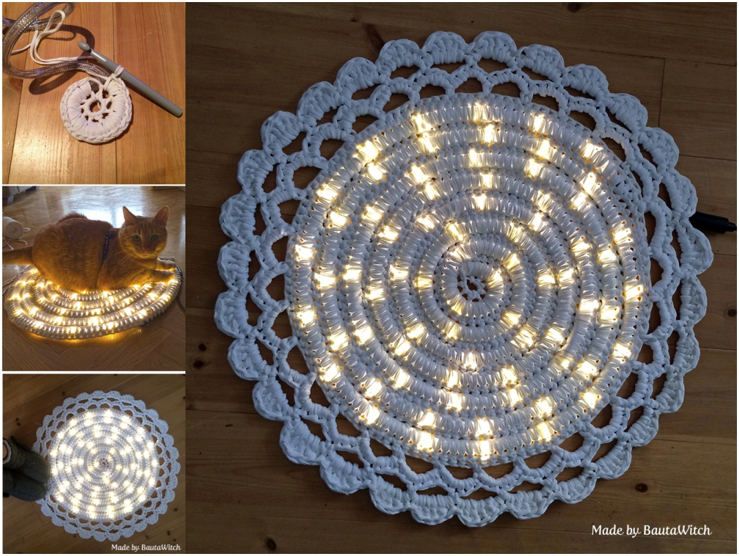 DIY Easy Crochet Night String Light Carpet