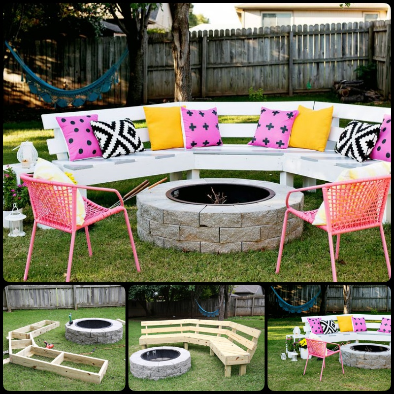 DIY Curved Fire Pit Bench