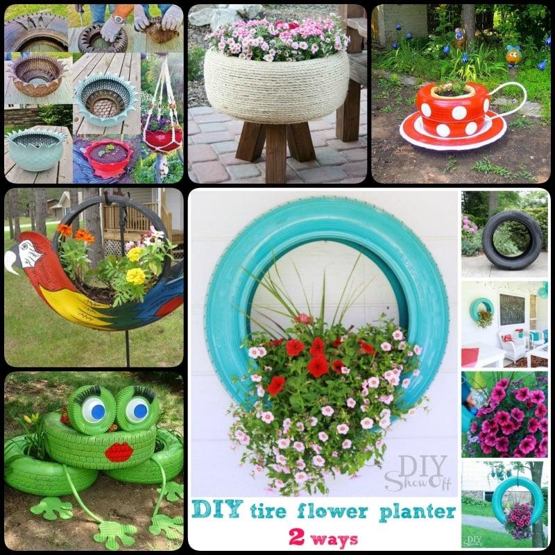DIY Tire Garden Flower Planter