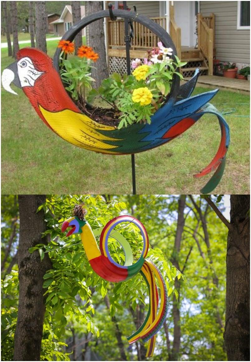 DIY Tire Parrot Garden Planter