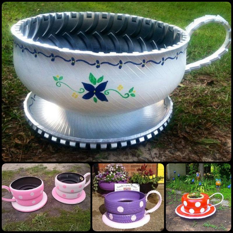 DIY Tire Teacup Flower Planter