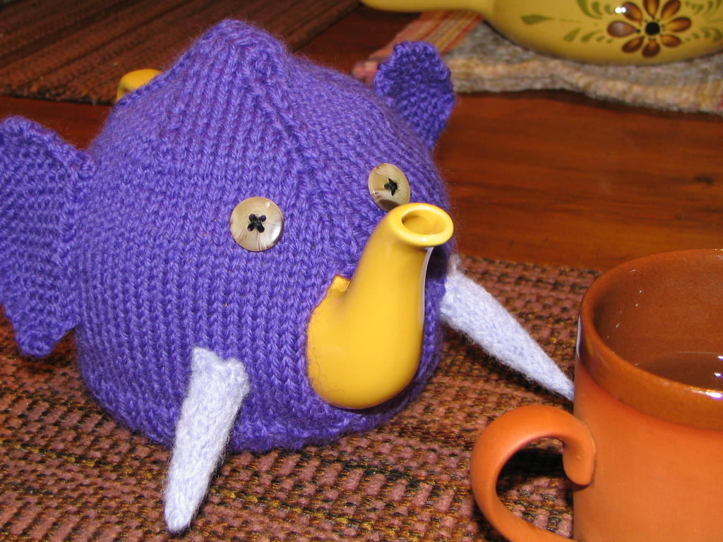 Elephant Tea Cozy with free knitting pattern