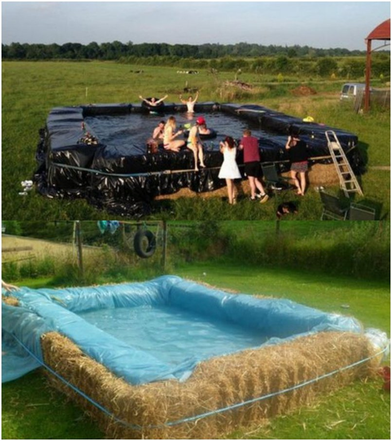 Build a swimming pool with straw bales for Create a pool