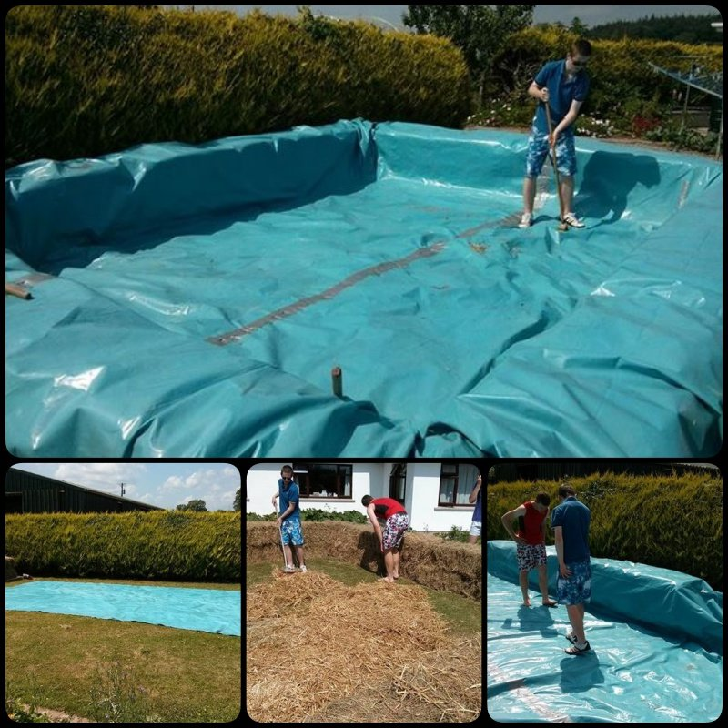 Build a swimming pool with straw bales for How to build a pool