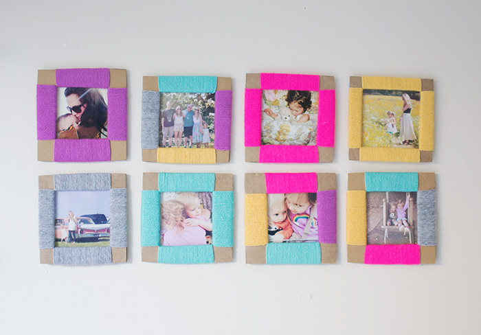 Mothers Day Craft for Kids-DIY Cardboard and Yarn Photo Frame