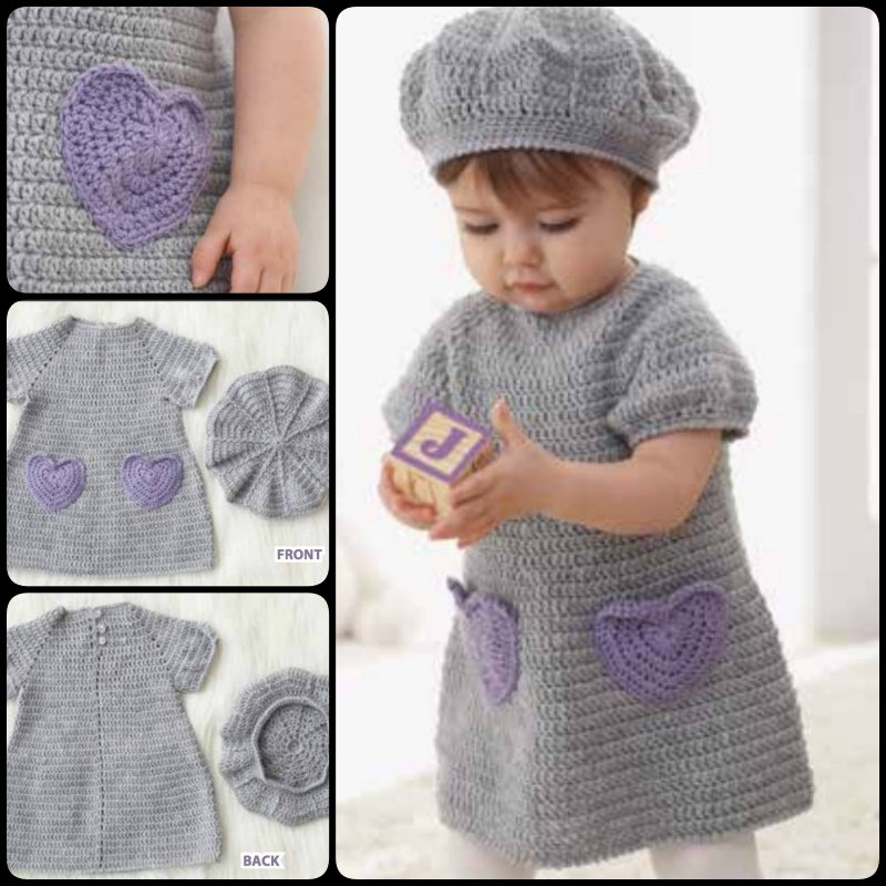 snuggly crochet dress with heart-shaped pockets