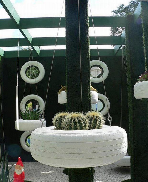 DIY Tire Cactus Planter Garden Decoration Idea