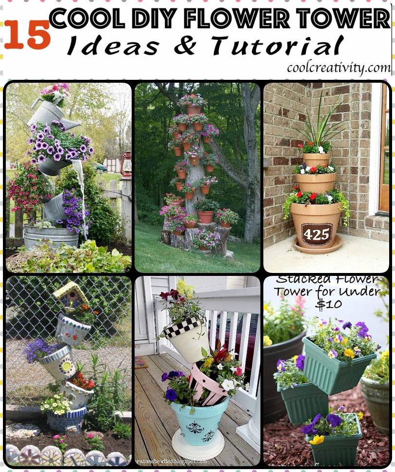 15 Cool DIY Flower Tower Ideas