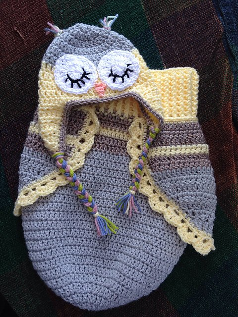 Crochet Baby Girl Owl Hat Pattern : Crochet Cute Baby Owl Cocoon with Pattern