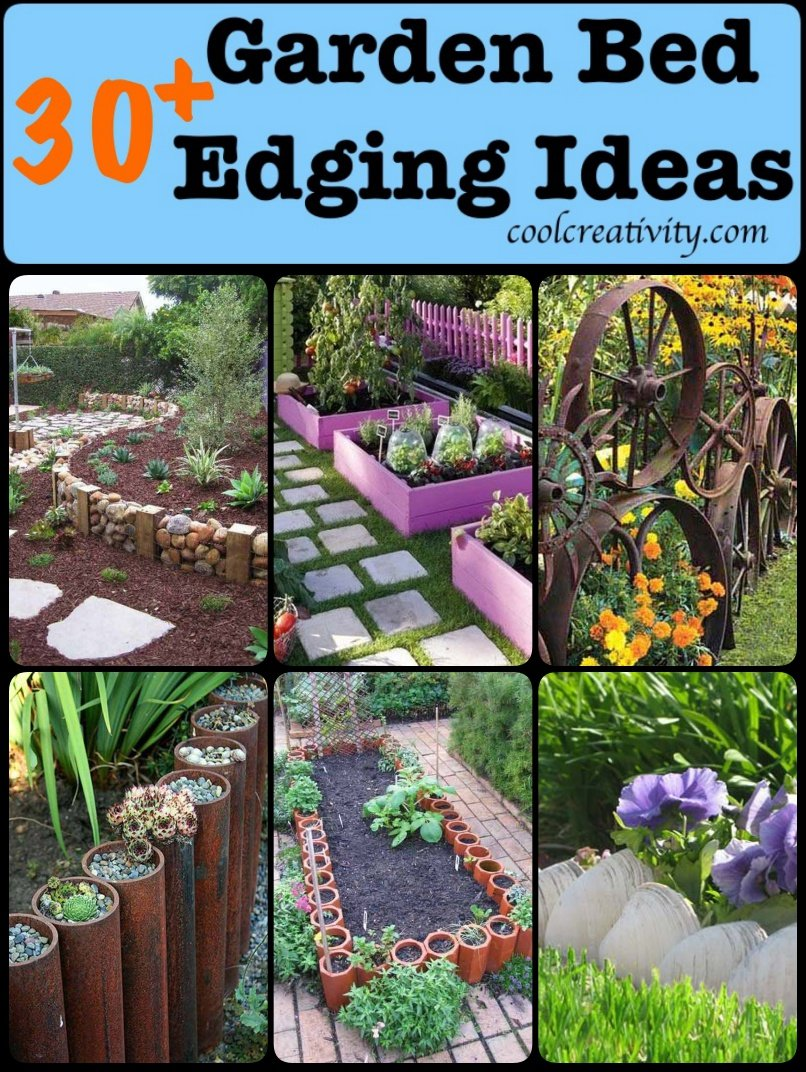 30 diy garden bed edging ideas for Cheap diy garden edging