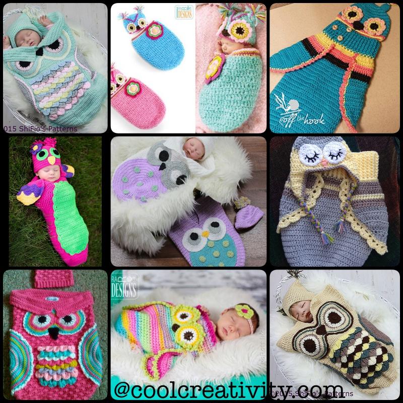 Crochet Owl Cocoon Pattern : Crochet Cute Baby Owl Cocoon with Pattern -