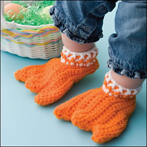 Knit Duck Feet Baby Socks With Free Pattern