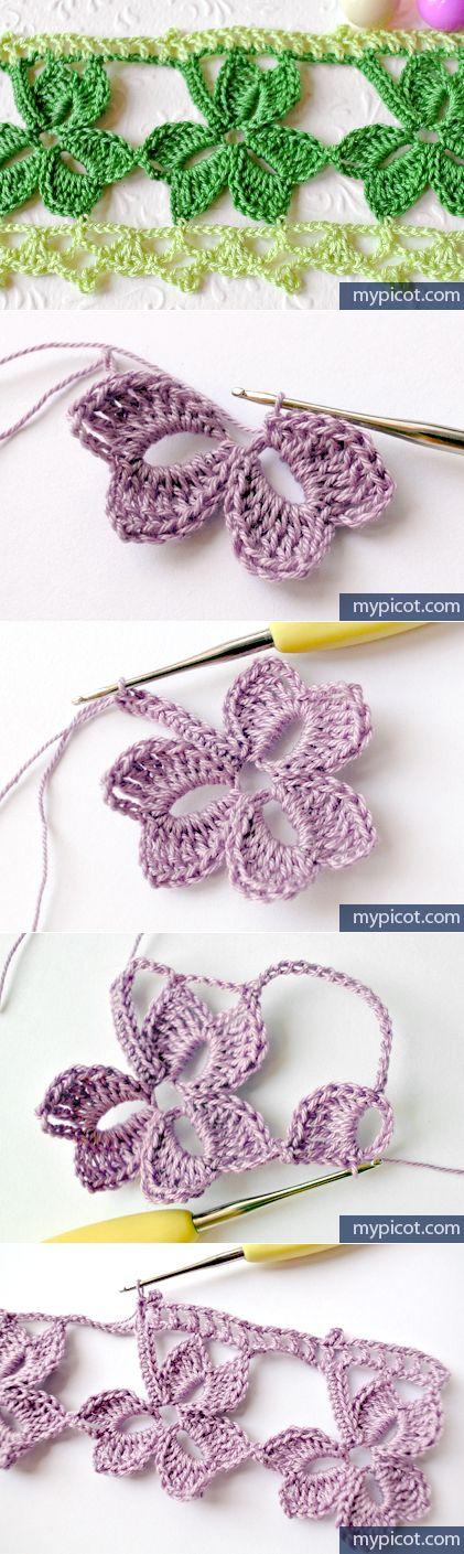 Crochet trefoil lace edging with free pattern - Bordure de finition au crochet ...