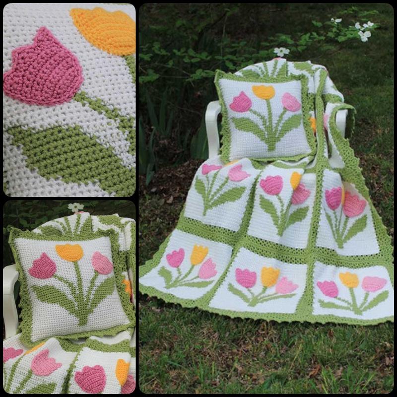 Crochet Tulip Afghan Pillow Set