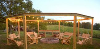 Pergola and Fire Pit with Swings