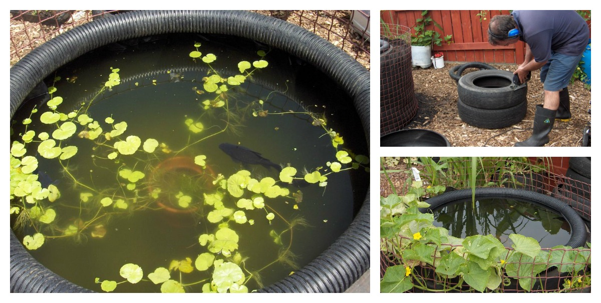 Diy decorative fish pond from old car tires - Diy projects using old tires ...