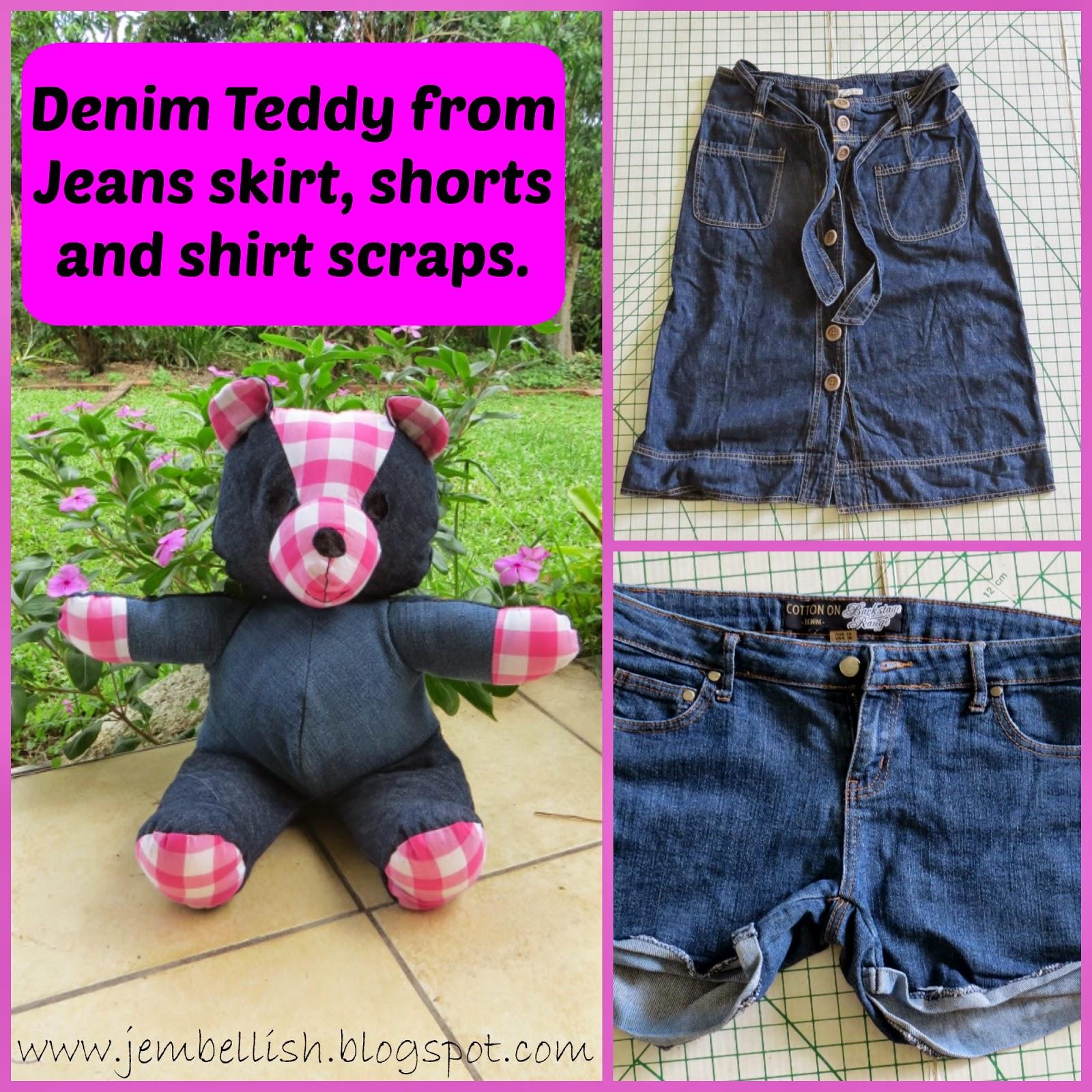 DIY Denim Teddy Bears --Jean Upcycle Idea