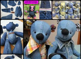 Teddy Bears Using Old Jeans