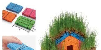 Mini Grass Houses with Sponge