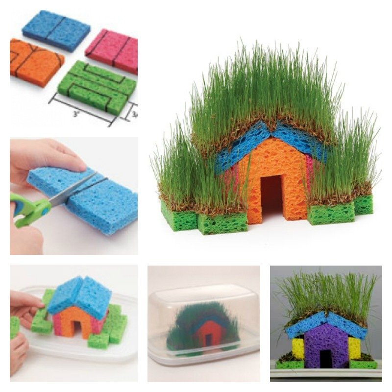 DIY Mini Grass Houses with Sponge for Kids