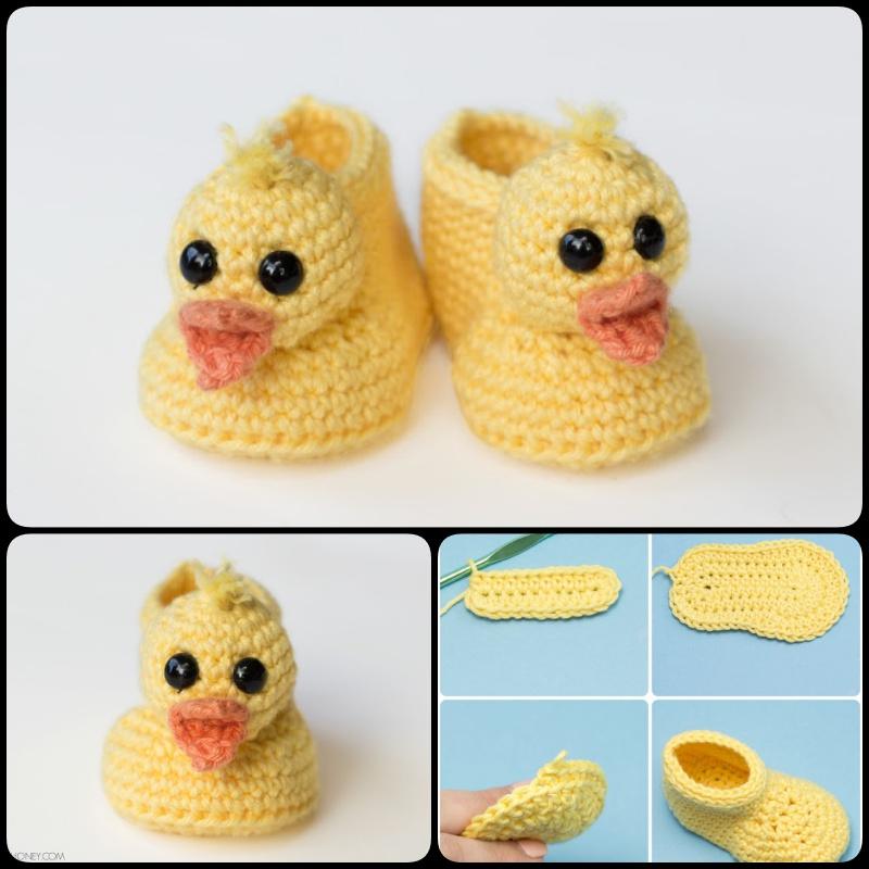 Duckling Baby Booties Crochet Pattern
