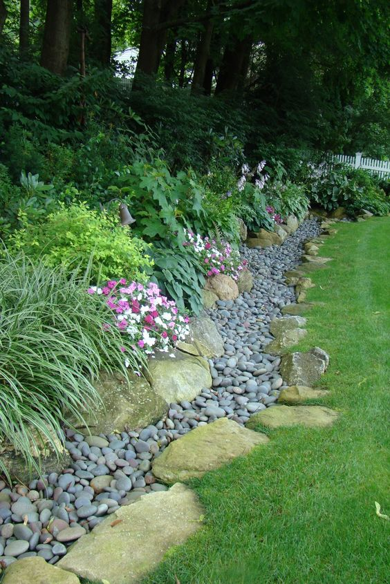 Garden Bed Edging Ideas--Dry Creek Bed Edging