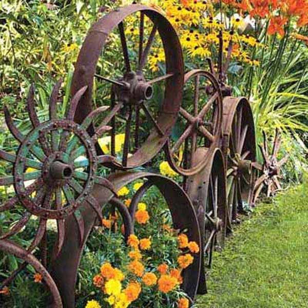 Garden Bed Edging Ideas--Old Wheels Edging