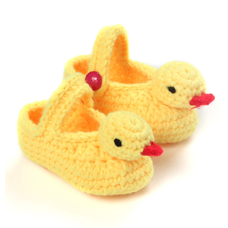Hand Knitting Yellow Duck baby shoes