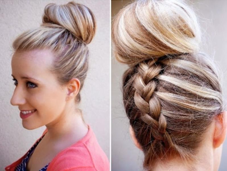 A Collection of 20 + Chic Hairstyles for All Occasions--Inverted French Braid Top Knot hairstyle